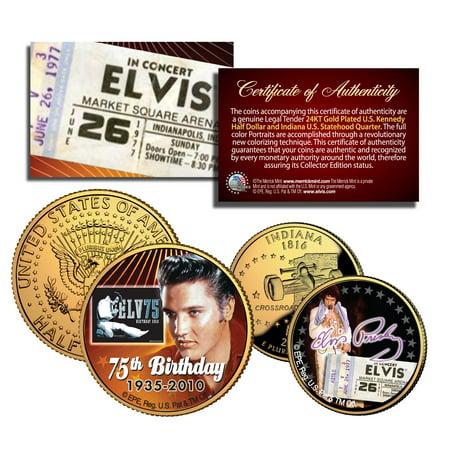 ELVIS PRESLEY Indiana Quarter & JFK 2 Coin Set *OFFICIALLY LICENSED* ELVIS75