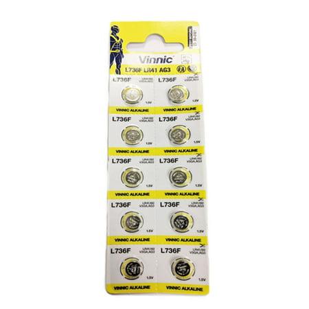 Vinnic L736 1.55V 190mAh Micro Alkaline Coin Cell Battery Replacement for Vinnic L736F Replacement Coin Cell