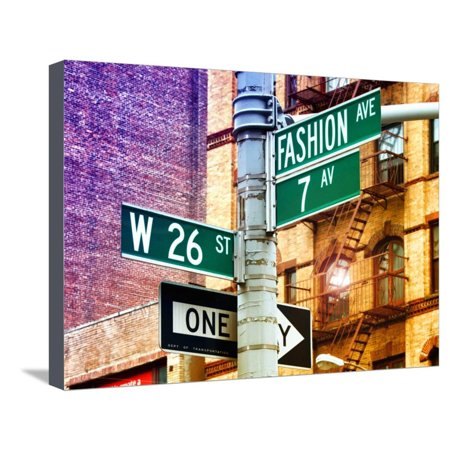 Signpost, Fashion Ave, Manhattan, New York City, United States, Art Colors Stretched Canvas Print Wall Art By Philippe Hugonnard