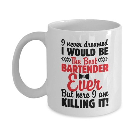 The Best Bartender Ever Funny Bartending Quotes With Bowtie Coffee & Tea Gift Mug, Pen Cup Décor, Containers, Utensils, Supplies, Items, Products And Table Accessories For Dad