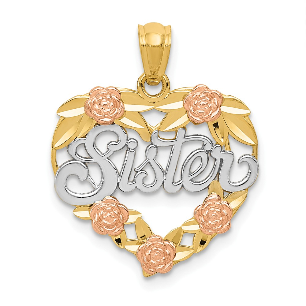 14k Two Tone Gold and Rhodium Sister Heart Pendant