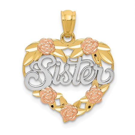 Vistar 14K Two Tone And Rhodium Sister Heart Pendant  Best Quality Free Gift Box