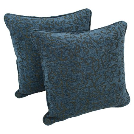 Blazing Needles 18-inch Corded Blue Floral Jacquard Chenille Throw Pillow (Set of 2)