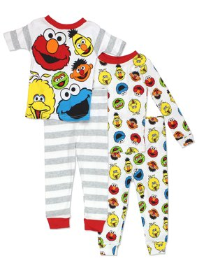 Sesame Street Gang Boys 4 piece Cotton Pajamas Set 21SS254DLS