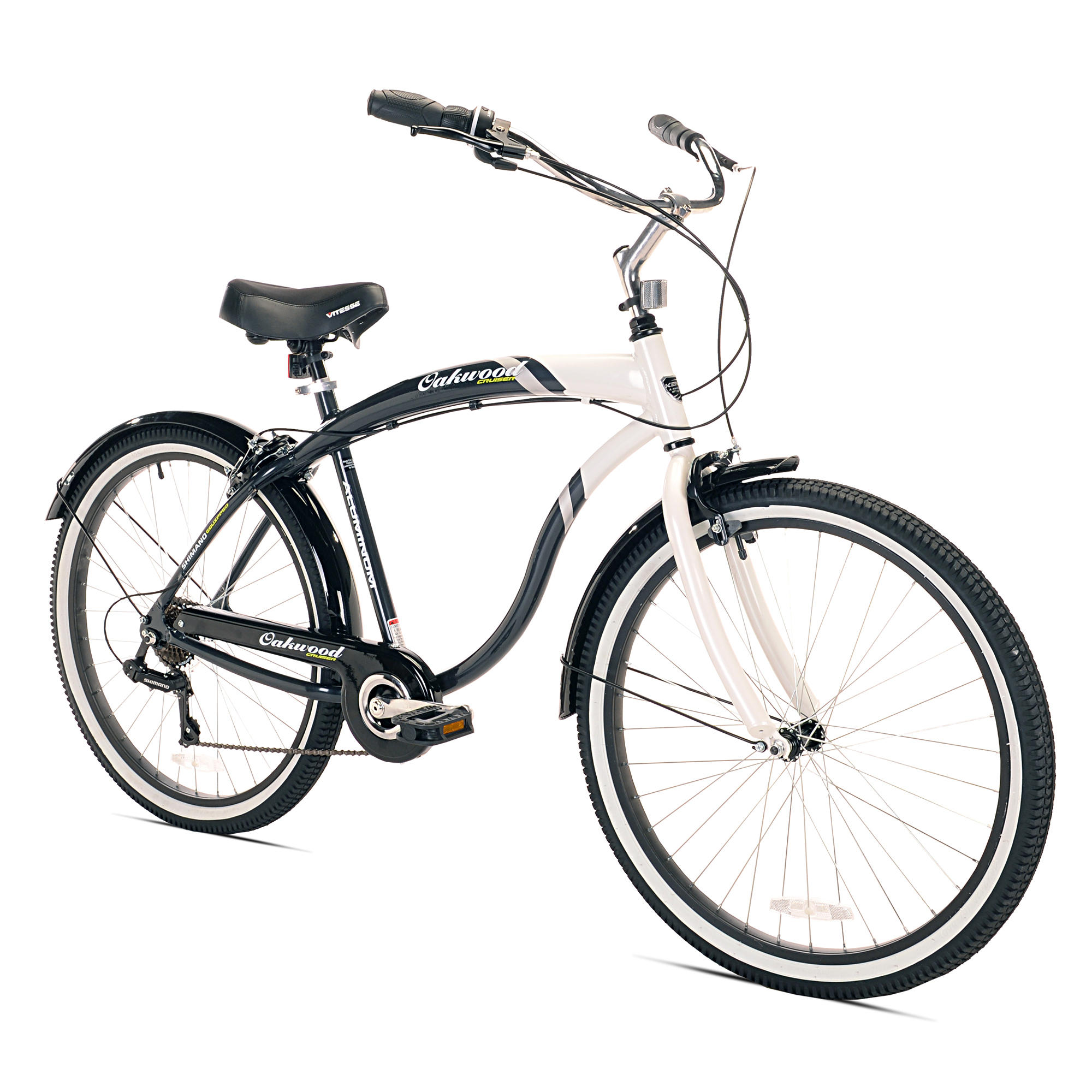 Oakwood Men's 26 Inch White Wall Tire Cruiser Bike with 7 Speed Gear Shift