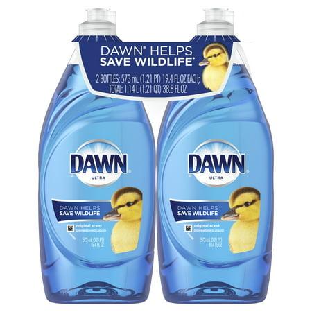 Dawn Ultra Liquid Dish Soap, Original Scent, 2 Ct, 19.4 Fl Oz Lemon Scent Dishwashing Liquid