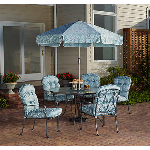 Mainstays Willow Springs 6Piece Patio Dining Set Blue Seats 5