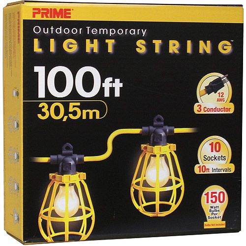 Prime 100-Feet 10-Bulb 12/3 SJTW Outdoor Temporary Light String, Yellow