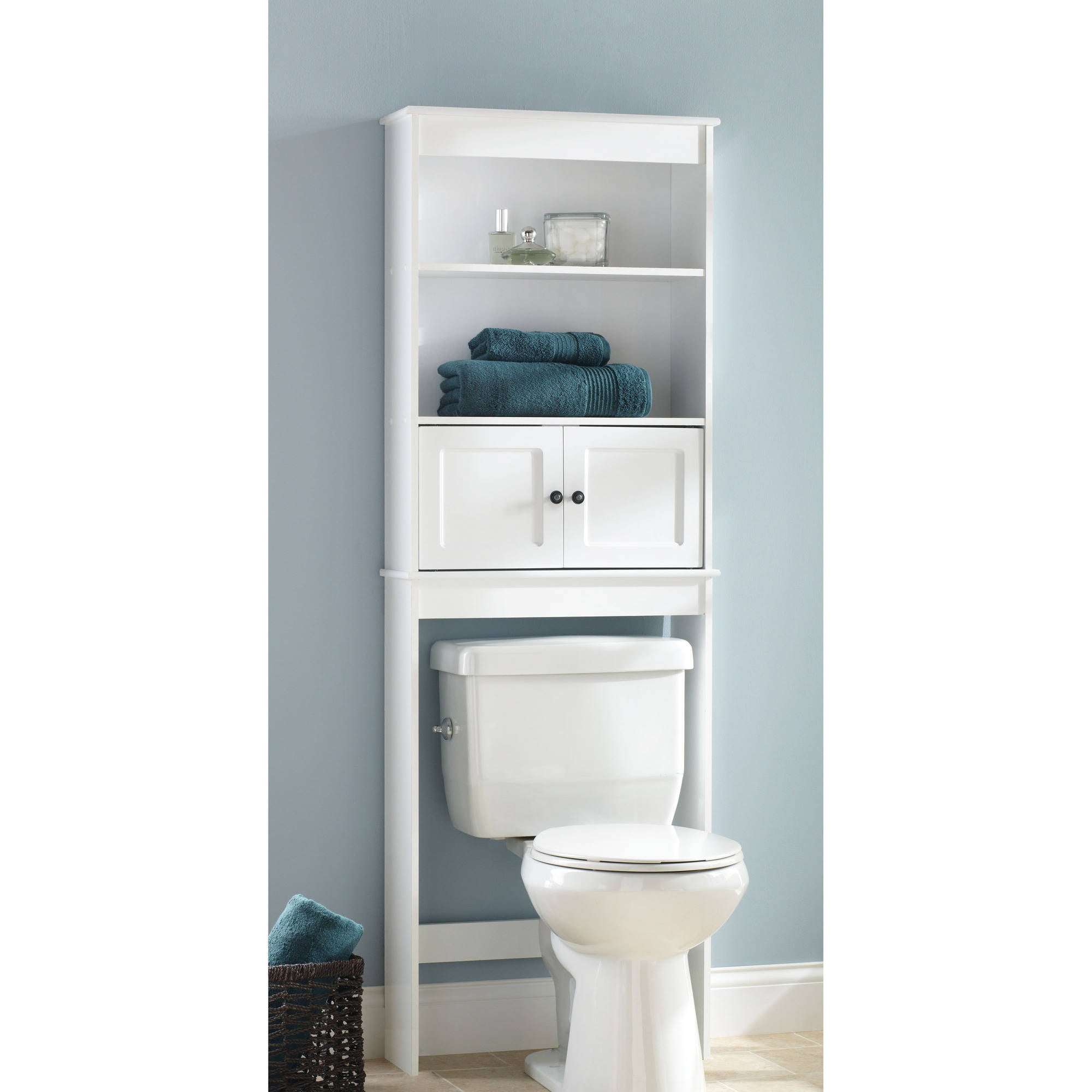 Hawthorne Place White Wood Spacesaver Bathroom Shelf Walmart Com