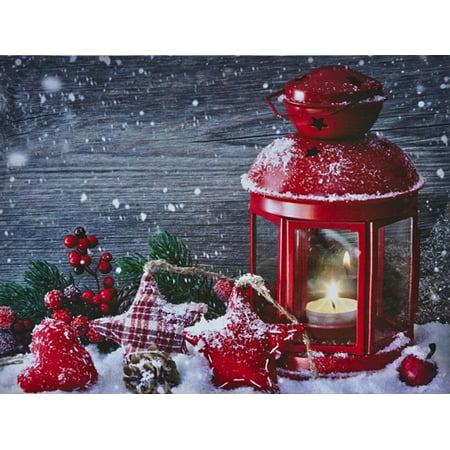 battery operated led lighted red candle lantern canvas christmas wall art with timer 16 x - Christmas Decorations Battery Operated Candles