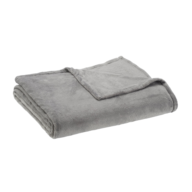 Mainstays Super Soft Twin Plush Bed Blanket In Light Gray Walmart Com Walmart Com