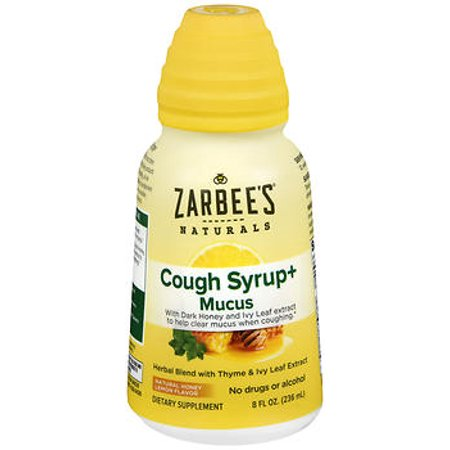 Zarbee's Naturals Cough Syrup + Mucus with Dark Honey- Herbal Blend with Thyme & Ivy Leaf Extract , Natural Honey Lemon Flavor , 8 Fl. Ounces (1