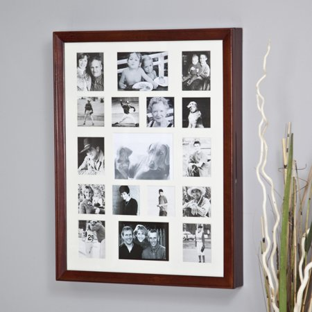 Collage Photo Frame Wooden Wall Locking Jewelry Armoire - 23W x 30H in. (Mission Style Jewelry Armoires)