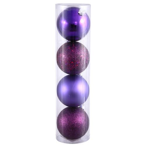 "Vickerman 4"" Plum 4-Finish Ball Ornament Assortment, Set of 12"