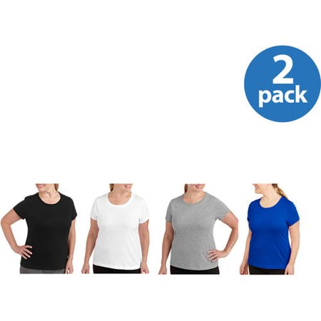 Danskin Now Womens Plus-Size Dri-More Core Workout Tee With Wicking 2-pack- Value Bundle