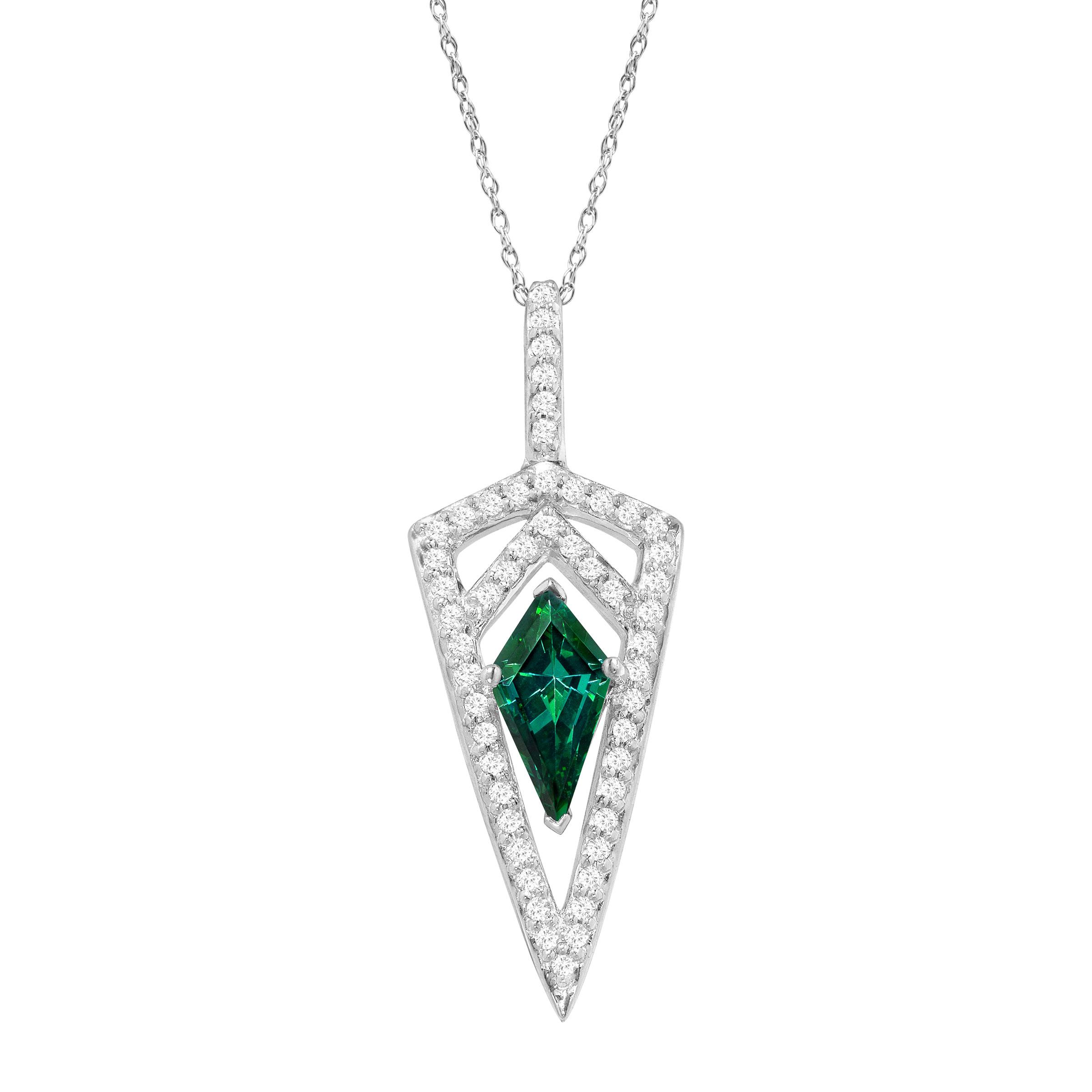 Richline Dagger Pendant Necklace with Green & White Swaro...