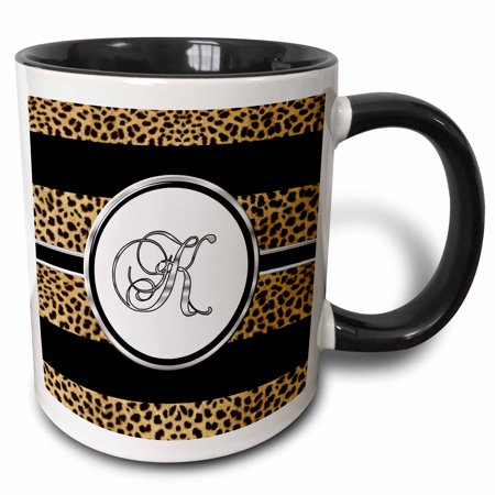 3dRose Elegant Cheetah Animal Print Monogram Letter K - Two Tone Black Mug,