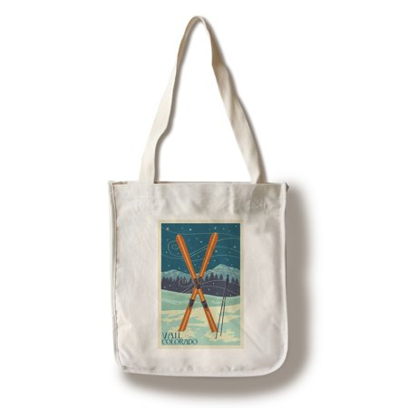 Vail Apres Ski (Vail, Colorado - Crossed Skis - Letterpress - Lantern Press Artwork (100% Cotton Tote Bag -)