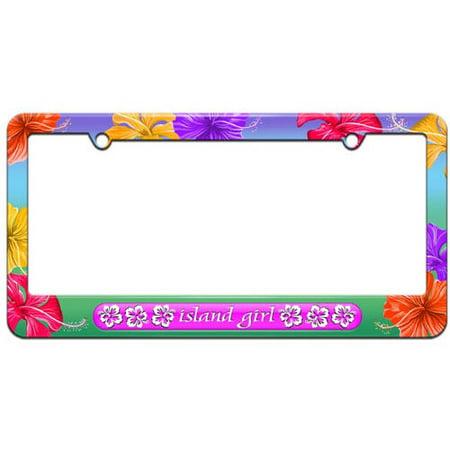 Island Girl Pink, Tropical Hibiscus Hawaii License Plate Tag Frame ...