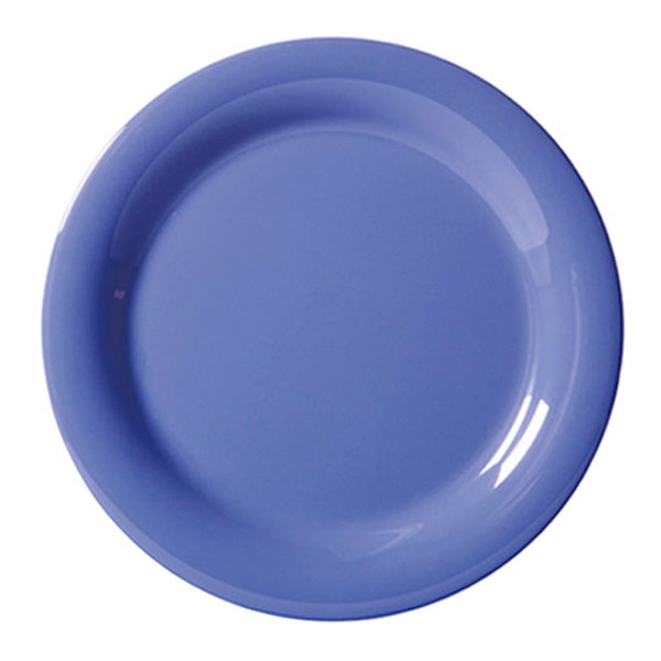 Diamond Mardi Gras 6.5 inch Narrow Rim Plate Peacock Blue Melamine/Case of 48