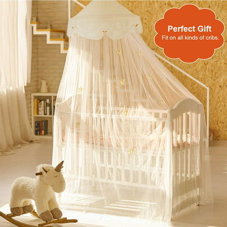 Bed Canopy-Fitbest Princess Bed Canopy Mosquito Net for Kids Baby Round Dome Kids Indoor Outdoor Castle Play Tent Hanging House Decoration Reading nook with Butterflies- White