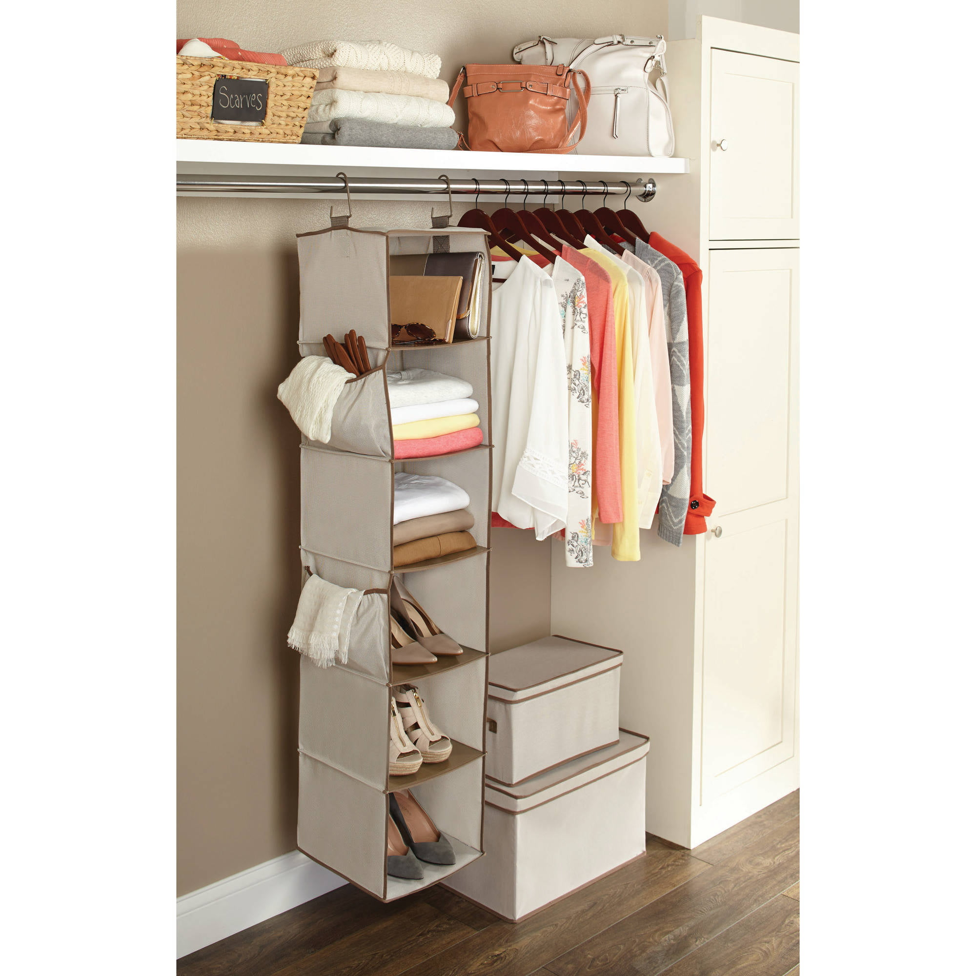 hanging tier with space metal savers closet mm decor rod