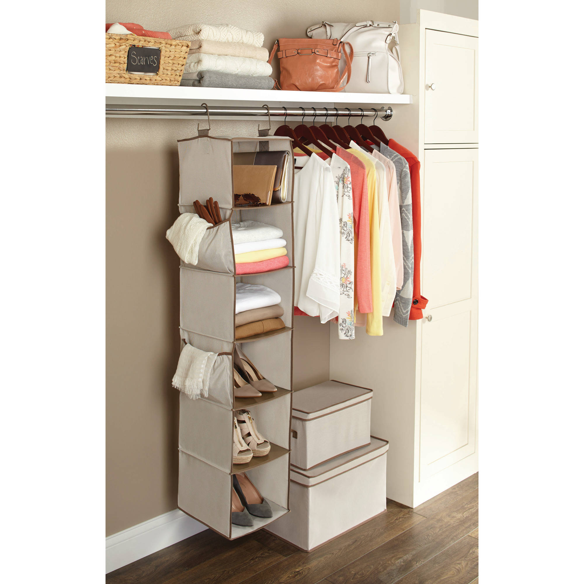 Better homes and gardens 6 shelf hanging closet organizer