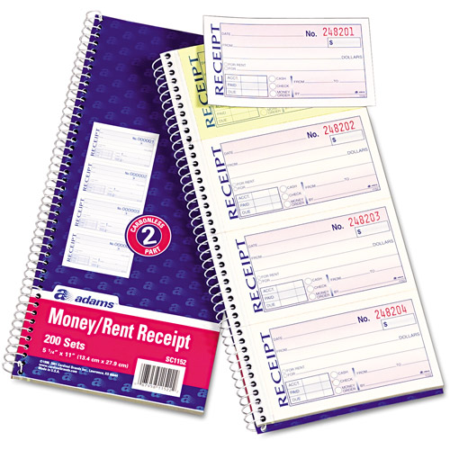 Adams Business Forms 2-Part Rent Receipt Book, 2-Part Carbonless, 200 Forms
