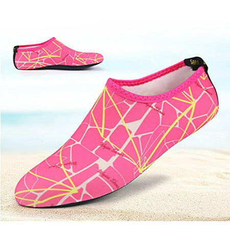 Barefoot Water Skin Shoes, Epicgadget(TM) Quick-Dry Flexible Water Skin Shoes Aqua Socks for Beach, Swim, Diving, Snorkeling, Running, Surfing and Yoga Exercise (Pink/Yellow, M. US 5-6 EUR