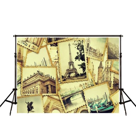 HelloDecor Polyster Vintage Photography Backdrop 7x5ft Retro Postcards  Travel Backdrops for Wedding Photography Background Backdrop for Video