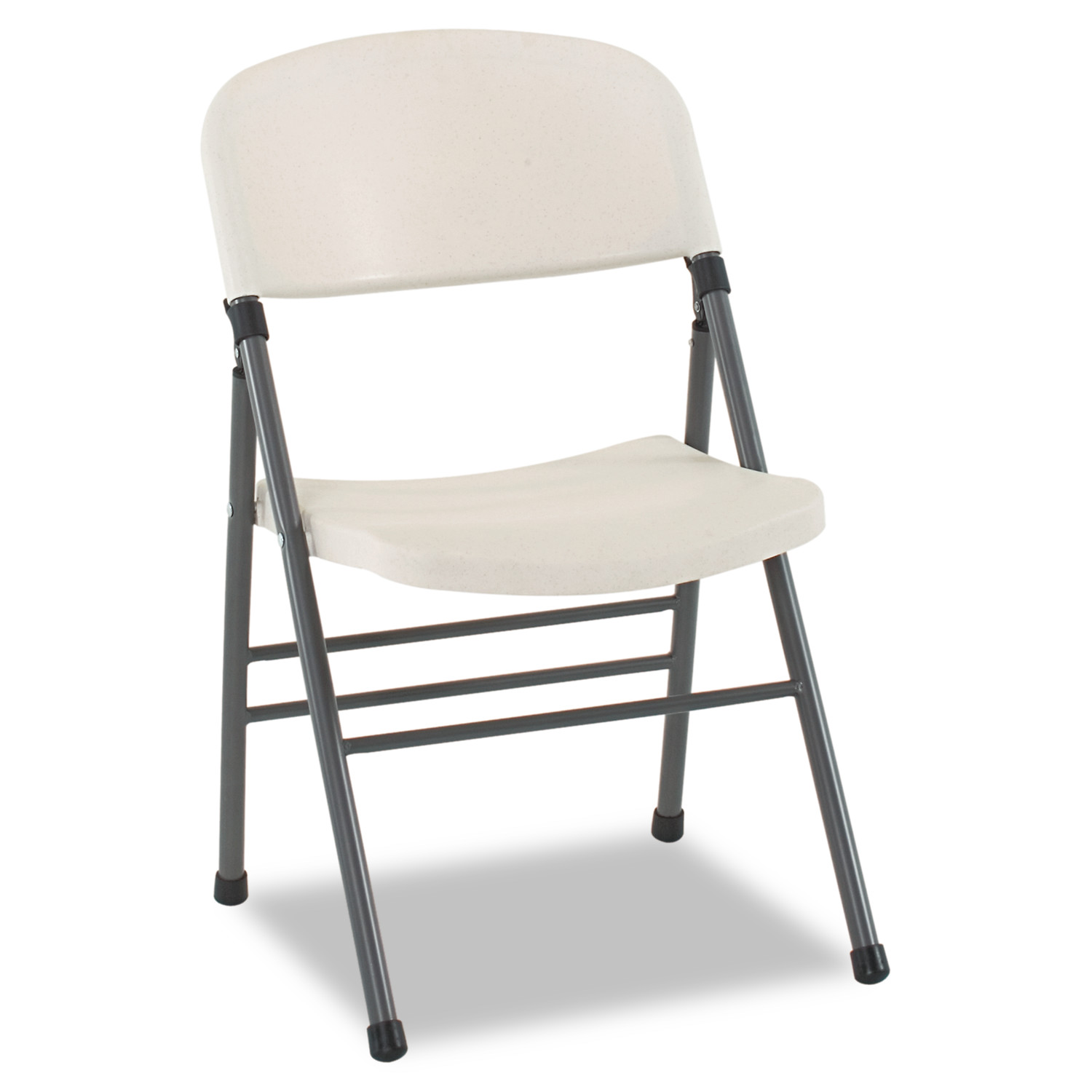 Bridgeport Endura Molded Folding Chair, Pewter Frame White Speckle by Cosco