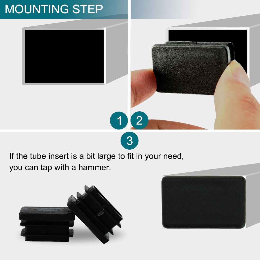 13 x 26mm Plastic Rectangle Ribbed Tube Inserts Table Feet Floor Protector 20pcs - image 2 of 7