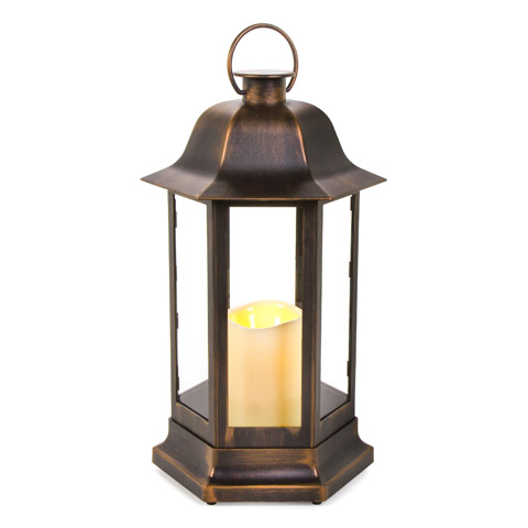 Plastic Lantern with LED Candle - Hexagon - Gold Brushed - 8.75 x 14.5 inches