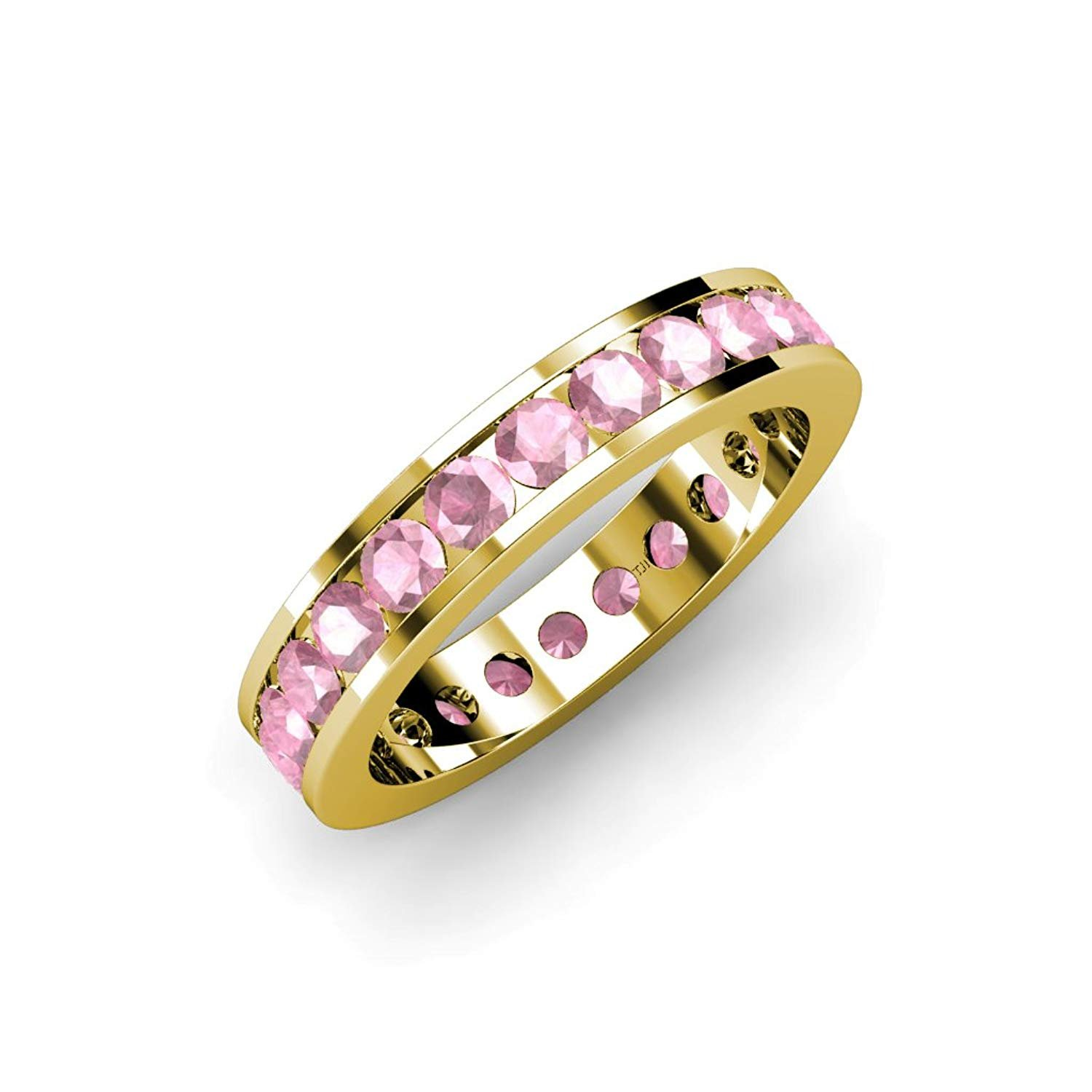 Pink Tourmaline Channel Set Eternity Band 1.99 ct tw to 2.40 ct tw in 14K Yellow Gold.size 8.0 by TriJewels