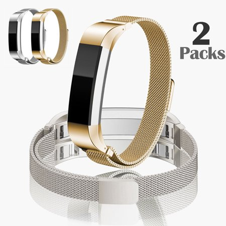 TSV Fitbit Alta HR Accessory Bands and Fitbit Alta Band, 2Pcs Milanese Stainless Steel Replacement Band for Fitbit Alta HR and Alta