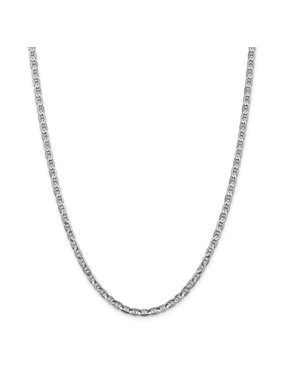 """14K White Gold 3.75mm Concave Anchor Chain Necklace, 20"""""""