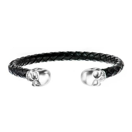 Inox BR3922 Black Leather with Steel Skull Cuff Bracelet - image 1 de 1