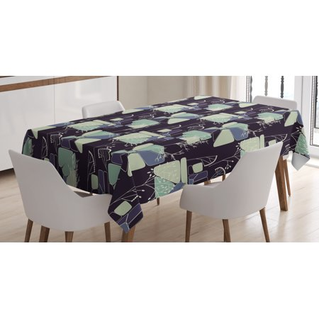 Floral Tablecloth  Geometric Soft Shapes With Flower Silhouettes Spring Summer Print  Rectangular Table Cover For Dining Room Kitchen  60 X 90 Inches  Indigo Pale Green Slate Blue  By Ambesonne