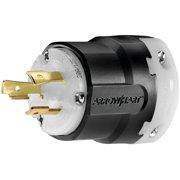 Cooper Wiring Arrow Hart Polarized Ultra Grip Plug, 125 VAC, 20 A, 2 P, 3 W, Black/White