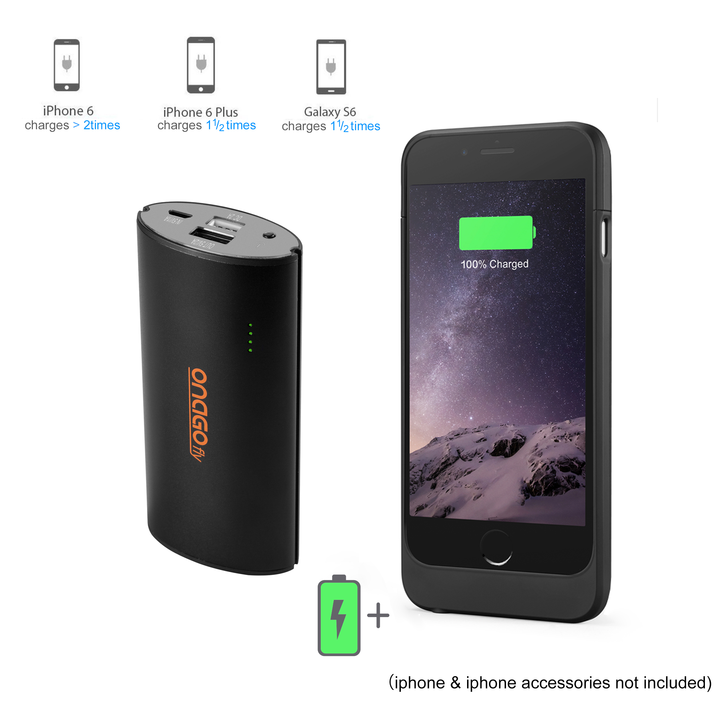 Onago 5000mAh Power Bank, Portable Battery Charger in Black