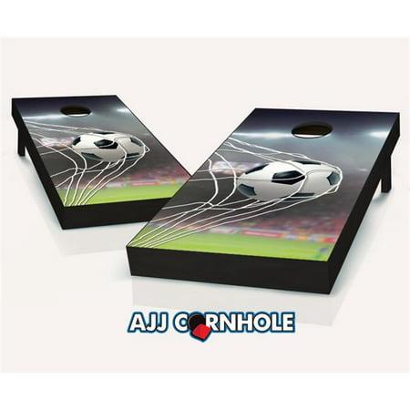 AJJCornhole 107-Soccer Soccer Goal Theme Cornhole Set with Bags - 8 x 24 x 48
