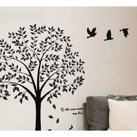 black tree of life with flying birds vinyl wall sticker for kids