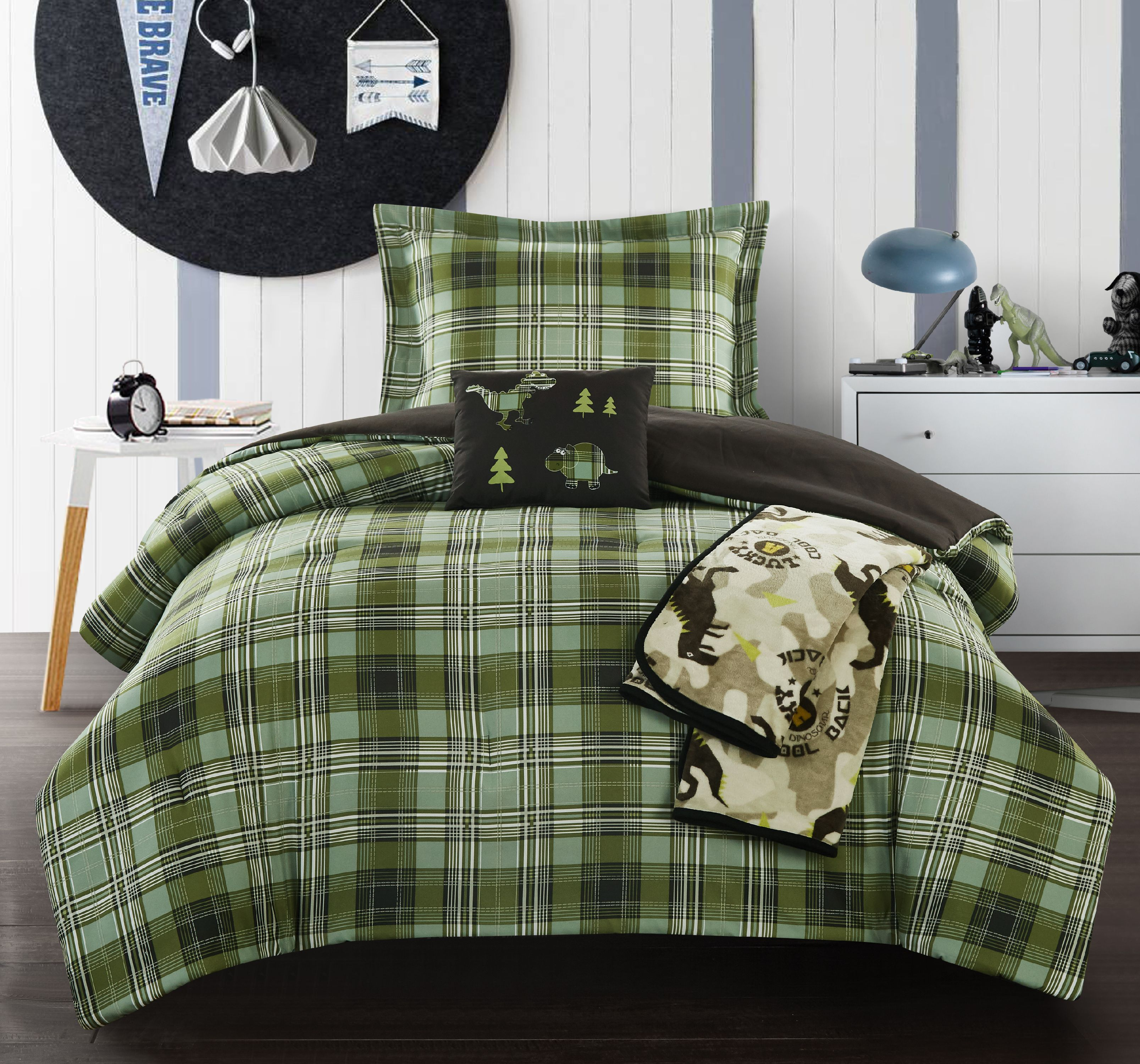 Chic Home Garb 4 Piece Patchwork Dinosaur Theme Youth Comforter Set