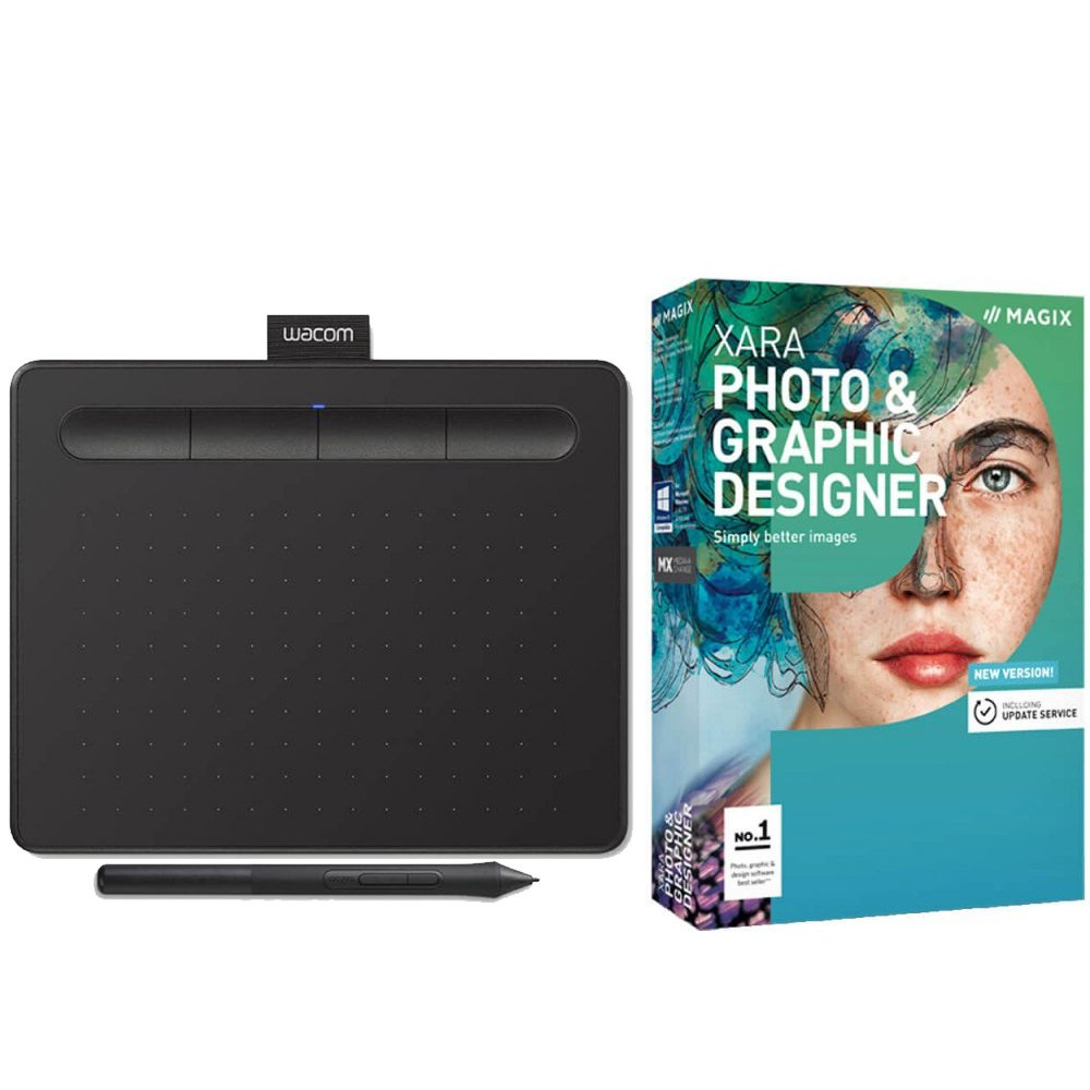 Wacom Intuos Tablet Small Black CTL4100 With Xara Photo & Graphic Designer 15 Download Card by Wacom