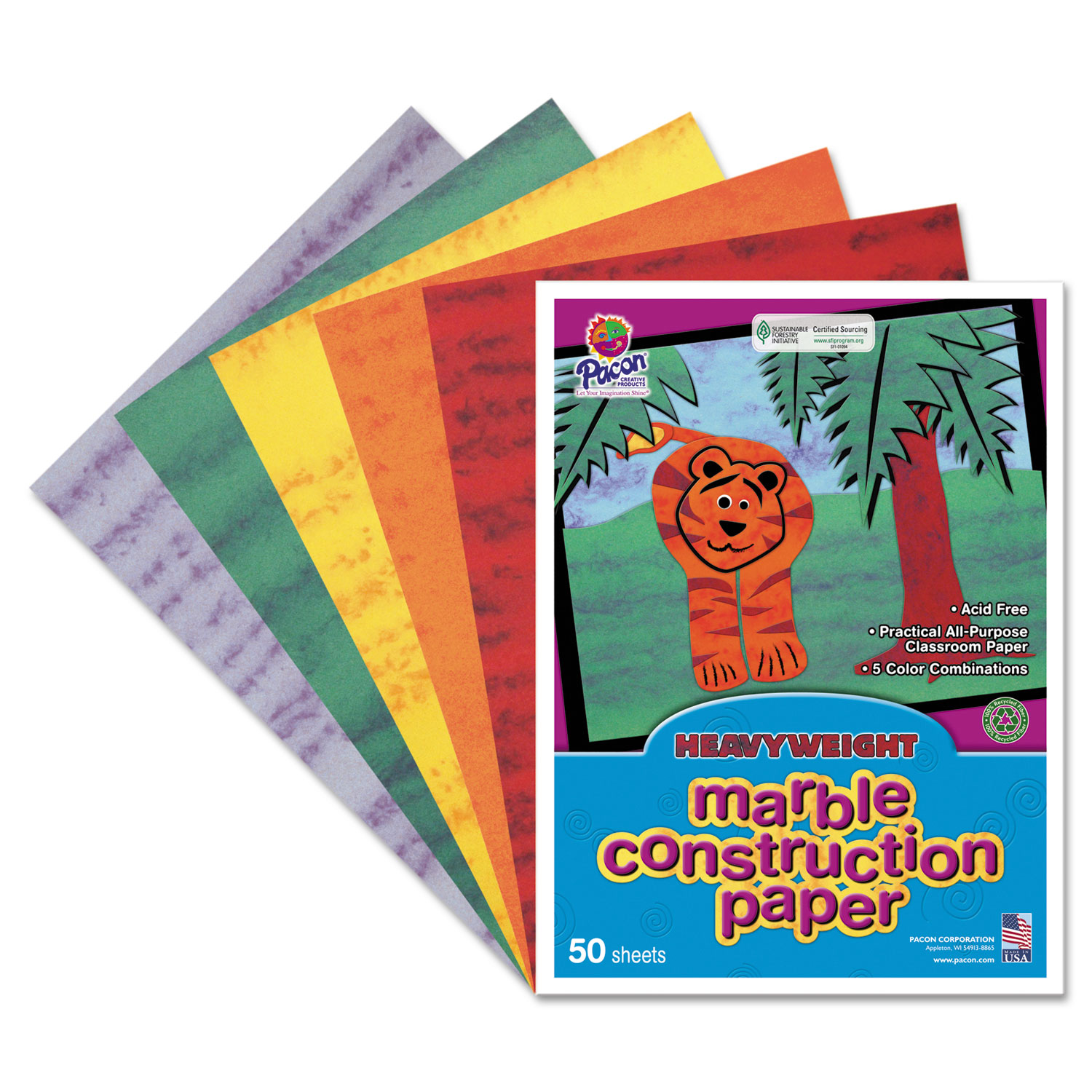 "Pacon Art Street Marble Construction Paper - 9"" X 12"" - Assorted (148200)"