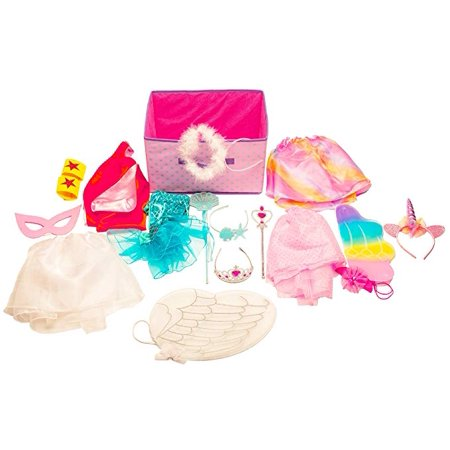 Girls Dress up Set: Unicorn, Superhero, Angel, Mermaid, Princess - with Storage - Superhero Girl Dress Up