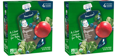 (2 Pack) Gerber 2nd Foods Organic Baby Food, Apples, Blueberries & Spinach, 3.5 oz. Pouch (Pack of 4)