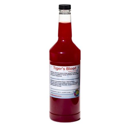 Tigers Blood Ready to Use Shaved Ice or Sno Cone Syrup Quart (32 Fl Oz)