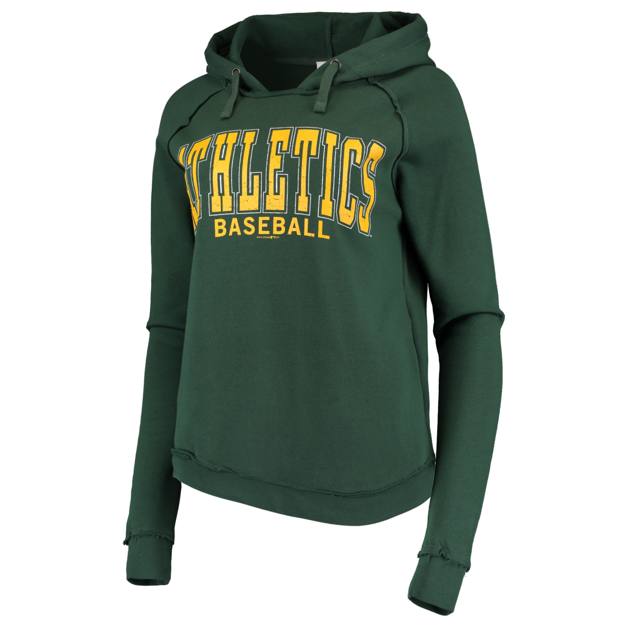 Women's 5th & Ocean by New Era Forest Green Oakland Athletics Defense Raglan Pullover Hoodie