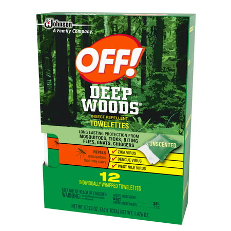 Off  Deep Woods Insect Repellent Towelettes 12Ea